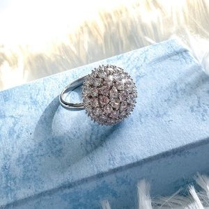 Jewelry - White Gold Plated CZ Dome Fidget Ring